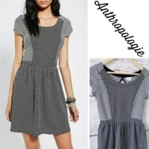 Anthropologie Polka Dot Keyhole Back Mini Dress